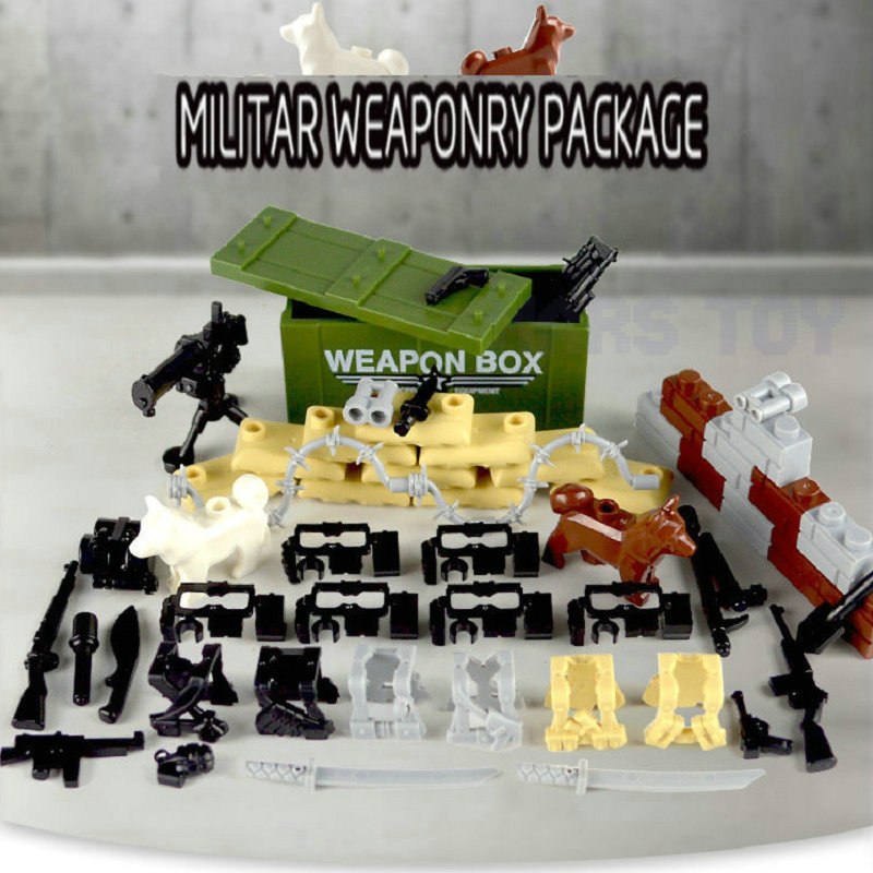 43pcs MOC Weapon Pack LegoINGlys Military Building Blocks SWAT Police Soldiers Figure WW2 Gun Builder Series Army Accessory Toys