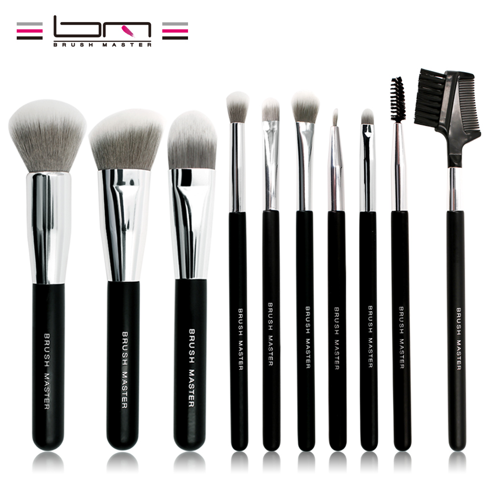 цена на Brush Master Makeup Brush Set 10 Pieces Foundation Powder Blush Concealer Contour Brushes Soft Synthetic Hair Black Wood Handle
