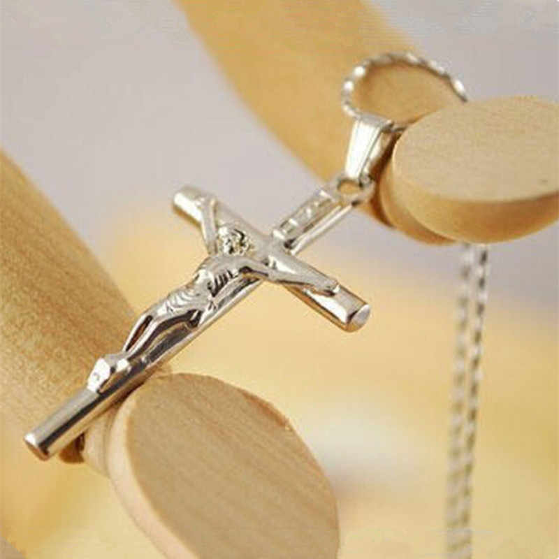 Trendy Vintage Sale Men And Women Classic Silver Jesus Cross Pendants Necklaces Accessories Boyfriend Girlfriend Gift  CND235