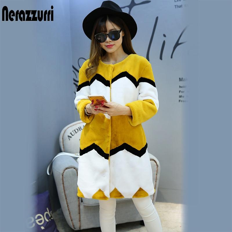 Nerazzurri Çok renkli sahte kürk palto renk bloğu kadın zarif - Bayan Giyimi - Fotoğraf 3