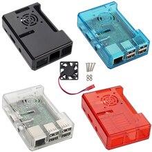 Четыре цвета Рашпиль B Erry Pi 3 Модель B корпус ABS пластик коробка Закрытая Коробка + вентилятор охлаждения для рашпилем B Erry Pi 2 Case вентилятор