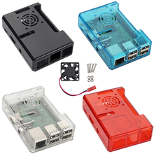 Four color Raspberry Pi 2 model B Case ABS Plastic Box Closed Box + cooling fan for Raspberry pi 3 case fan