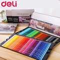 Deli офисные канцелярские товары 48/72 цветов Масляные цветные карандаши набор для рисования эскиз жестяная коробка искусство школьные принад...
