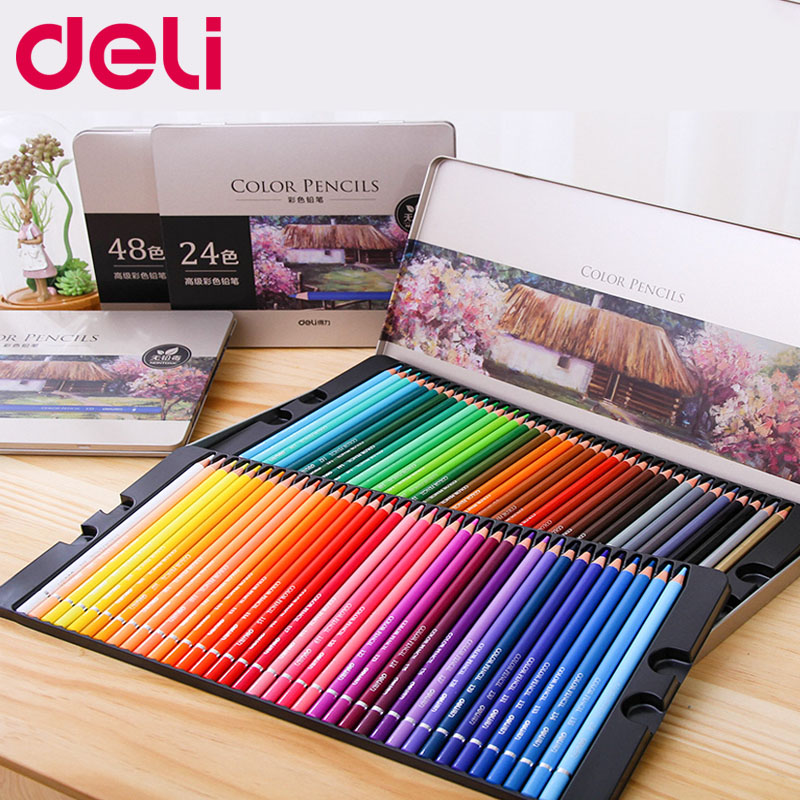 Deli Office Stationery 48/72 Colors Oil  Colored Pencil Set For Drawing Painting Sketch Tin Box Art School Supplies Professional
