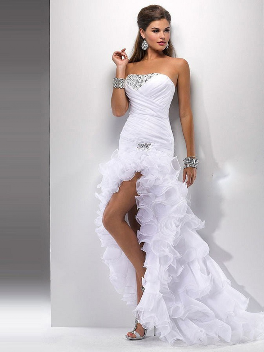 Popular White High Low Prom Dresses-Buy Cheap White High Low Prom ...