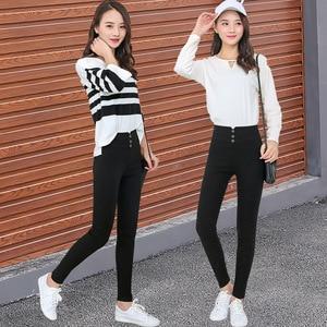 Image 3 - Womens black Pants Pencil Trousers 2018 Spring Fall Button pocke Pants Women Slim Ladies Jean Trousers Female High Waist Pants