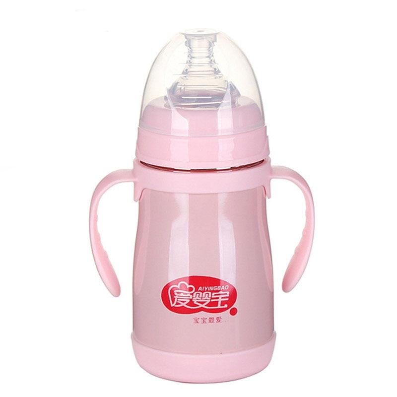 240ml Stainless Steel Heat Proof Baby Milk Feeding Bottle
