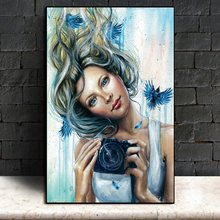 Watercolor Woman Camera Nordic Posters And Prints Wall Art Canvas Painting Pictures For Living Room Girl Bedroom Home Decor