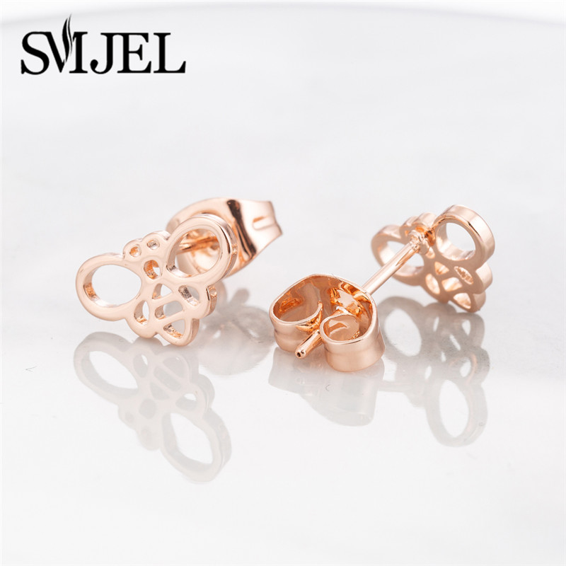 SMJEL, модные богемные ювелирные изделия из старинных серег, милые черные геометрические круглые серьги-гвоздики из нержавеющей стали, лучший подарок для женщин и девушек