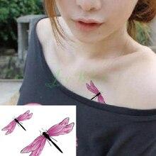 Dragonfly Tattoo Flash-Tatoo Waterproof Girl Kids Women Pink for Animal