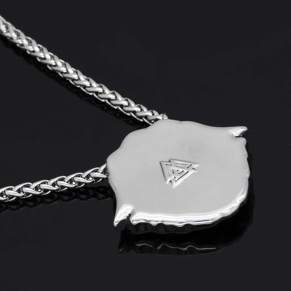Homens de aço inoxidável norse viking odin lobo corvo Escandinavo amuleto pingente de colar