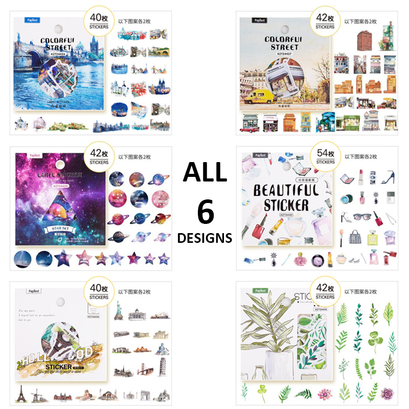 6packs/set Cute Korean DIY Stickers 6 Designs Scrapbooking Photo Album Deco Stickers Bullet Jornal Cute Stickers