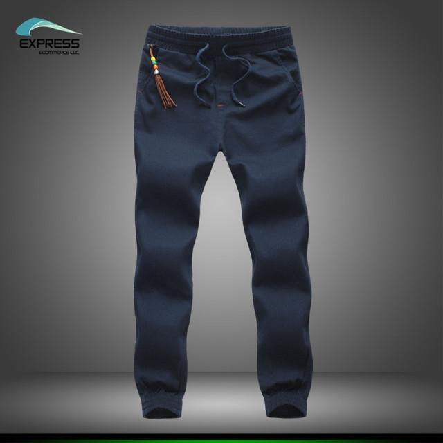 Más el tamaño 2017 mens khaki esposadas joggers pantalones de algodón pantalones de los hombres pantalones largos de europa nuevos pantalones negros envío gratis