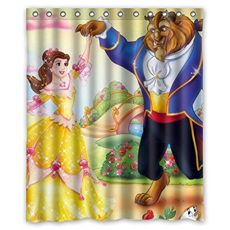 Christmas Decorations For Home Beauty And The Beast Cartoon 160x180cm Fabric Bathroom Accessories Shower Curtain