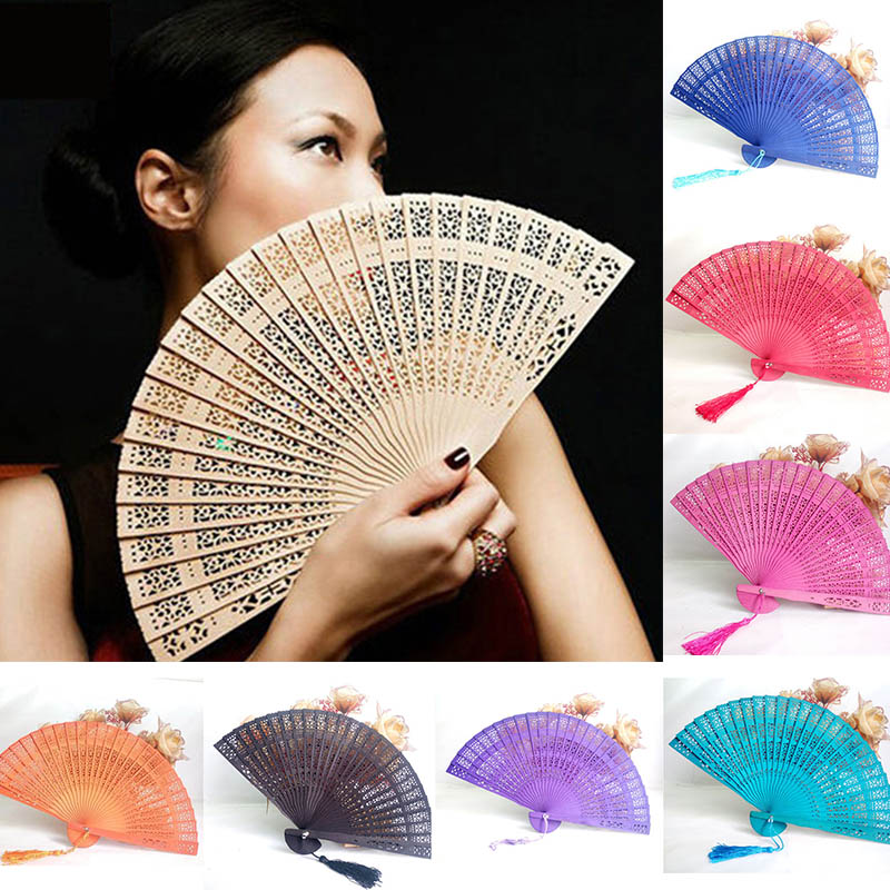 Fragrant Wood Home Decor Crafts Art Folding Carved Summer Accesory Weddings Parties Party Favor Bamboo Wooden Fan Hand Fans