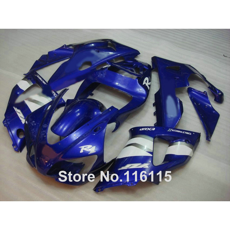 Injection molding full fairing kit fit for YAMAHA R1 1998 1999 YZF R1 blue white ABS fairings set YZF-R1 98 99 YD52 hot sales cowling body kit for yamaha yzf r1 2002 2003 yzf1000 02 03 yzf r1 abs plastic motorcycle fairing injection molding