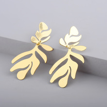 Trendy Gold Alloy Palm Leaf Earrings Geometric Metal Long Dangle for Women Fashion Jewelry Minimalist Urban Accessories