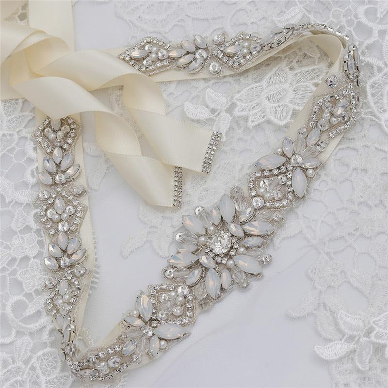 Jonnafe Fashion Opal Crystal Bridal Sash Pearls Wedding Dress Waistband Silver Color Dress Belt Accessories