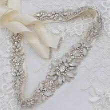 Jonnafe אופנה אופל קריסטל כלה אבנט פניני חתונת שמלת חגורת כסף צבע שמלת חגורת אבזרים