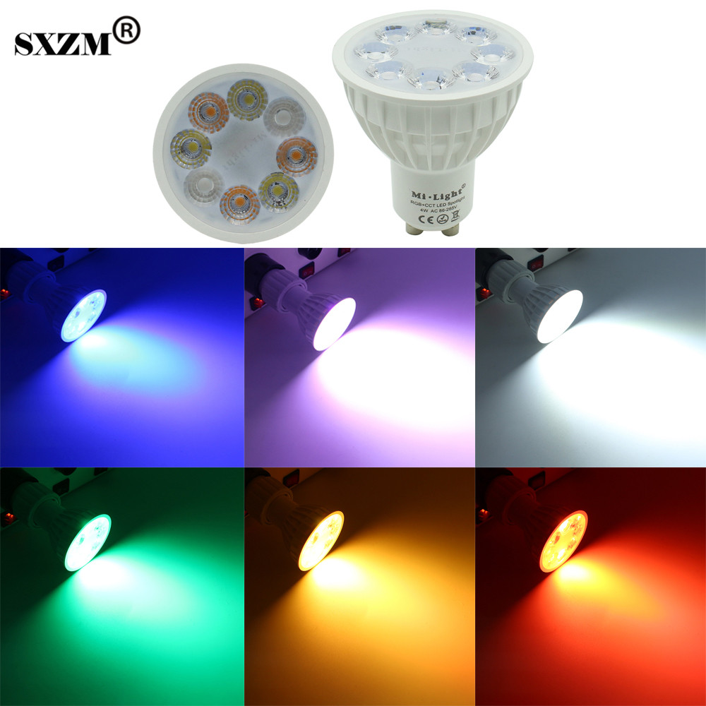 SXZM Milight GU10 4W LED spotlight RGB+CCT indoor lamp AC85-265V 16 million colors changing,adjustable brightness colorful light