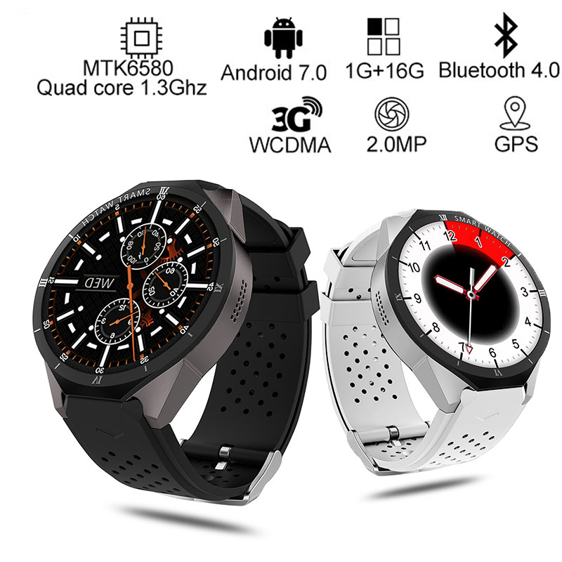 KW88 Pro 3G Smart Watch Android 7.0 GPS Phone MTK6580 quad core 1GB+16GB 1.39 inch 400*400 Screen with 2.0MP camera smartwatch