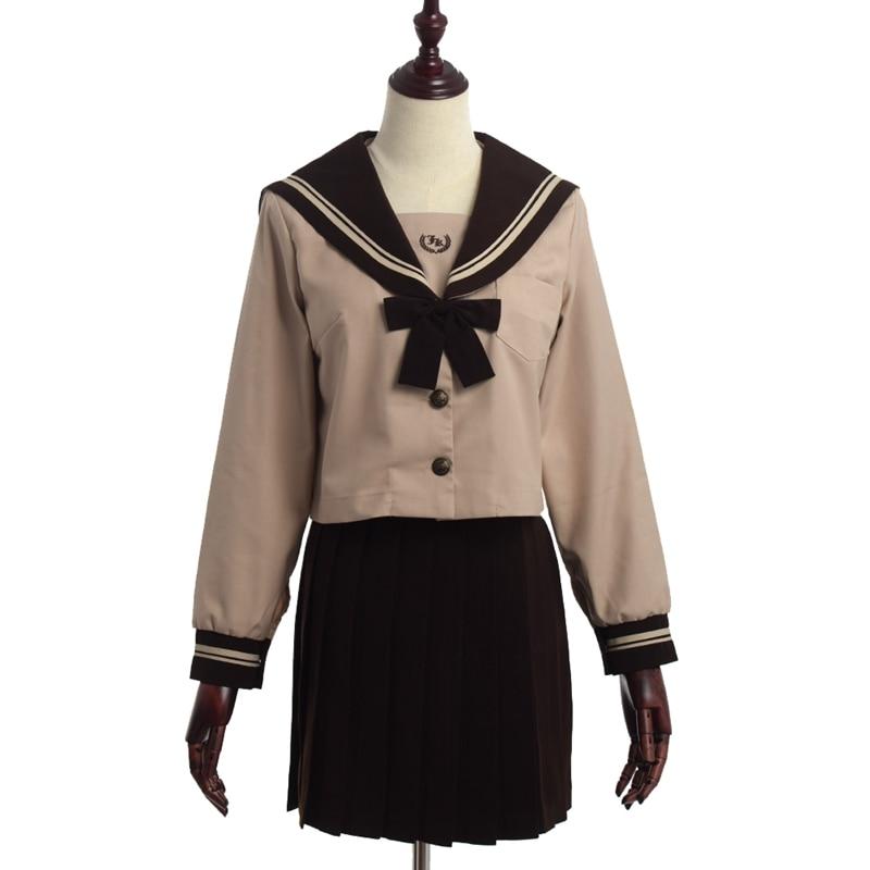 Vent d'université uniforme scolaire japonais étudiant à manches longues marinière plissée jupe costume