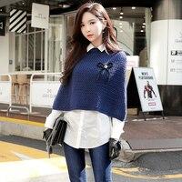 Original 2017 New Autumn Winter Elegant Ladies Fashion Bow Short Cloak Sweater Women Wholesale