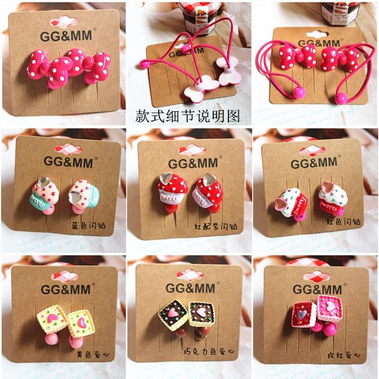 Girls Cute Cartoon Ice Cream Donut Elastic Hair Band Bow Rubber Band Ponytail Rope Headbands Kids Hair Accessories H