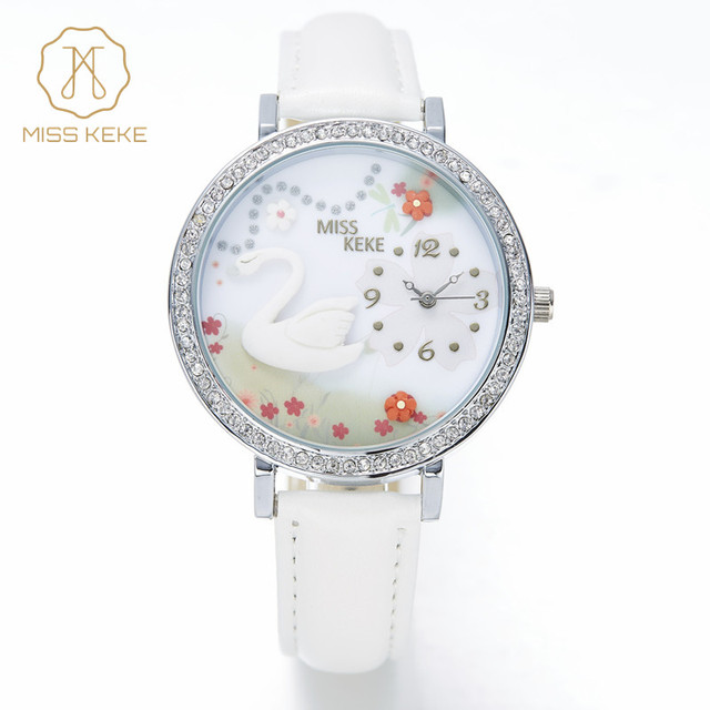 MISS KEKE Students 3D Clay Swan Cartoon-Watch Diamond Quartz Watches Children Kids Leather Girls Dress Wristwatches Clock 1041