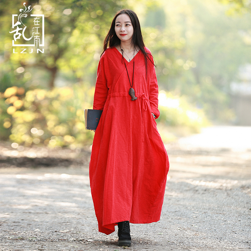 LZJN 2019 Spring Autumn Maxi Dress for Women Long Sleeve V Neck Robe Femme Cotton Linen