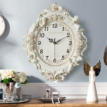 Taste choice decor European Retro resin Pastoral quartz clock Mute style Muted fashion rose flower round wall clock