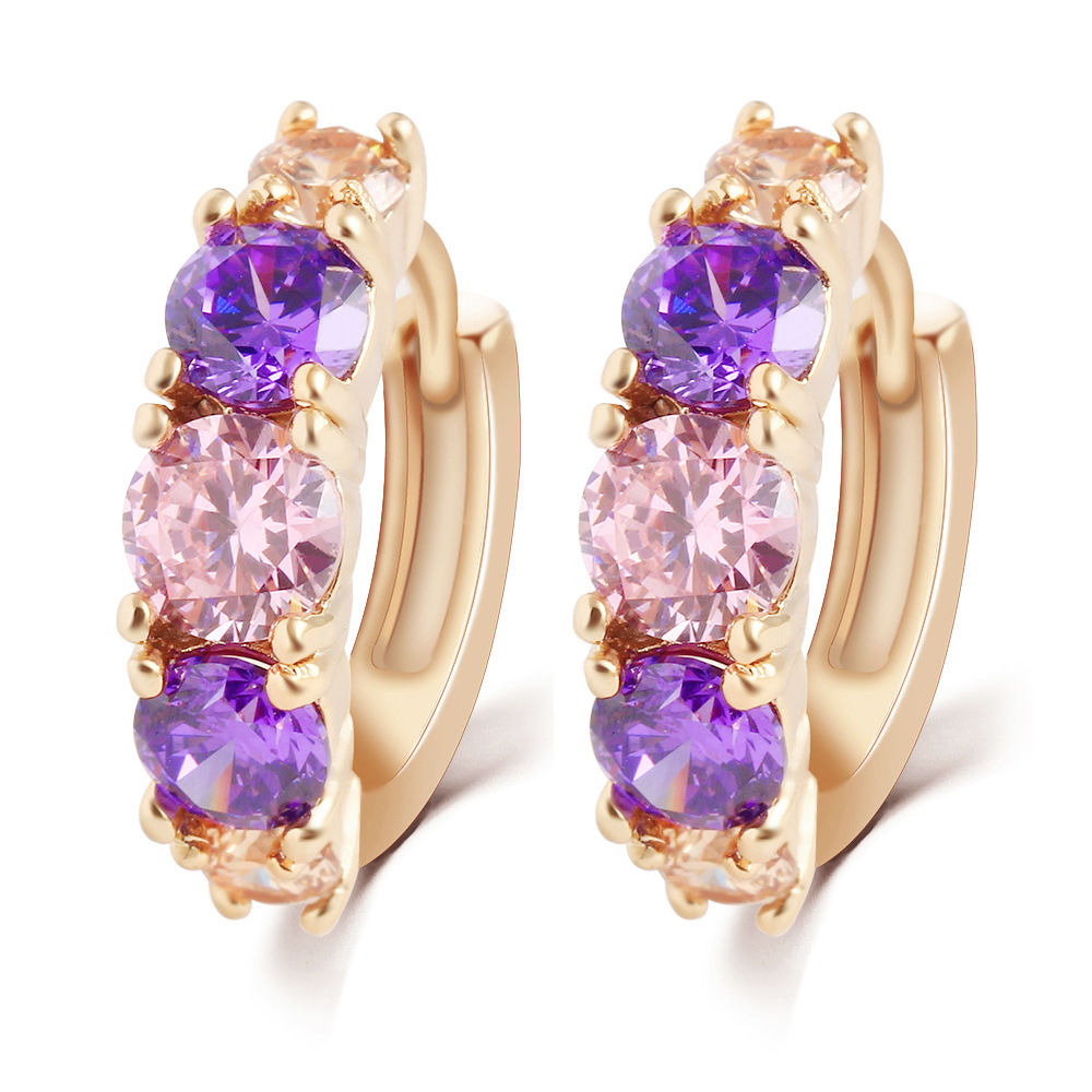 New Hot Sell Fashion Charm Alloy Gold Purple Crystal Earring ...