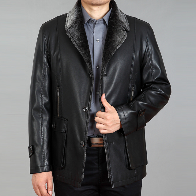 HOT Fashion one piece luxury fur leather clothing men's casual turn-down collar leather jacket plus size slim fur coat / M-4XL