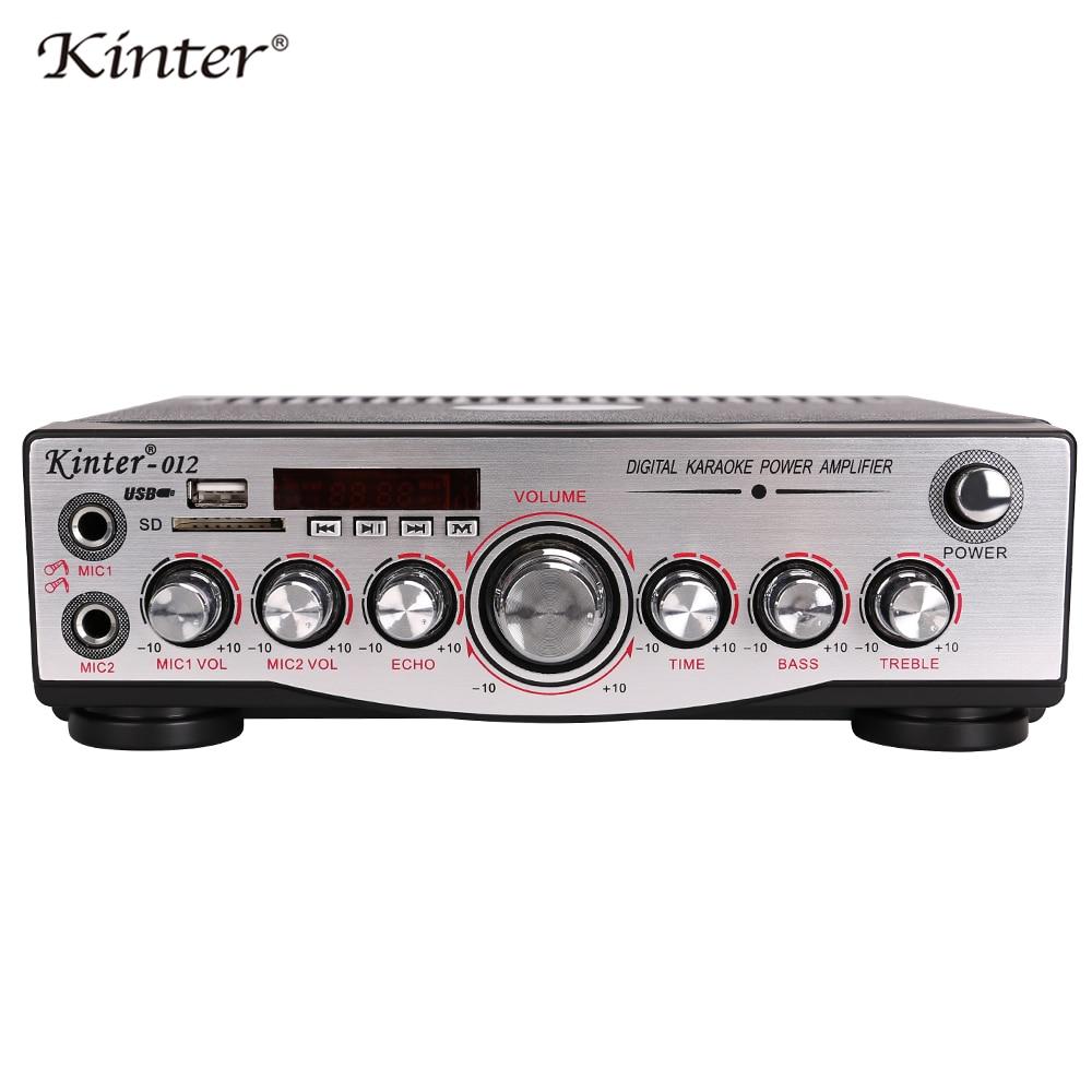 Kinter-012 karaoke amplifier audio 2.0CH offer Mic USB SD input adjust bass treble ECHO supply power 220V and DC12V цена