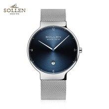 Relogios Femininos SOLLEN Ultrathin Watch Men Mesh Steel Strap Wristwatch Simple Lovers Quartz Watches Women Relojes Hombre Gift