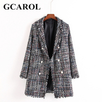 GCAROL Euro Style OL Autumn Winter Pearl Buttons Blazer High Quality Notched Collar Long Tweed Jacket