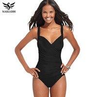 NAKIAEOI 2016 New Arrival One Piece Swimsuit Women Vintage Bathing Suits Plus Size Swimwear Beach Padded
