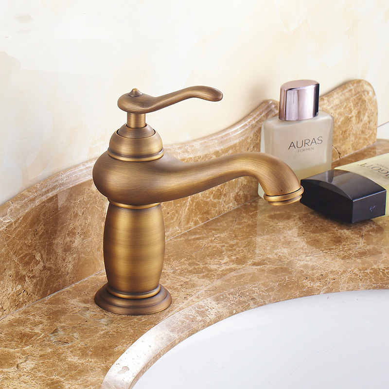European Leading Antique Basin Faucet Hot And Cold Water Wash Faucet Copper Gold Mixer Bathroom Sink Washbasin Accessories