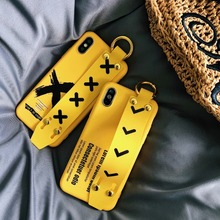 Fashion Simple Yellow Phone Case for iPhone X XS Max XR Cover Soft TPU Wrist Strap Back For 8 7 6 6s Plus