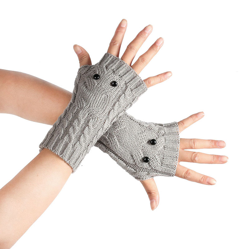 Cute 19cm Wool Black Bright Eyes Owl Gloves Knitted Leaking Fingers Autumn And Winter Half Finger Touch Screen Warm Gloves D13