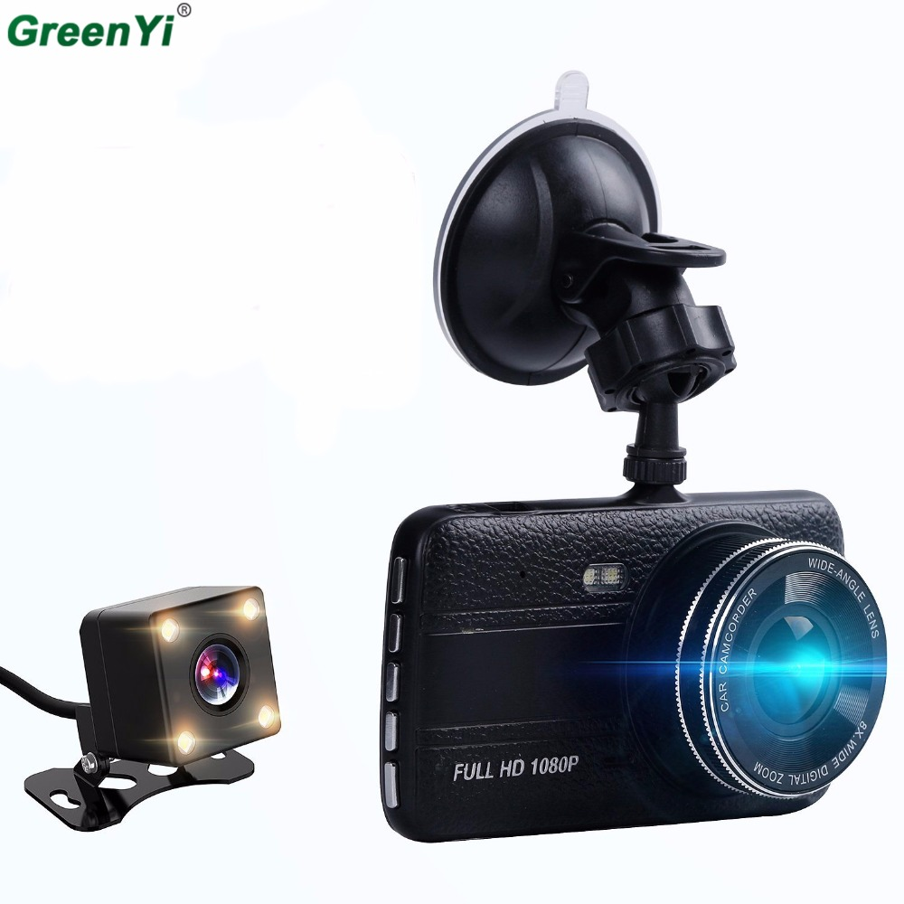 GreenYi Car DVR Camera Dual Lens IPS 4.0 Full HD 1080P Video Recorder Registrator Night Vision Car Camcorder DVRs Dash Cam car camera car dvr wifi 1080p hd car dvrs night vision dash dual cam recorder rotatable lens wireless snapshot auto camcorder