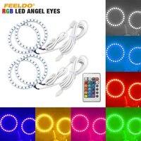 FEELDO 1set Car RGB Multi Color LED Angel Eyes Halo Ring Light Kit Wireless Remote Control For FIAT Grande Punto