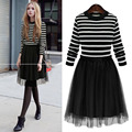 2016 New Autumn Winter Fashion Elegant Women Dress Fake Two Long-Sleeved Striped Stitching Organza Knit Dress vestidos plus size