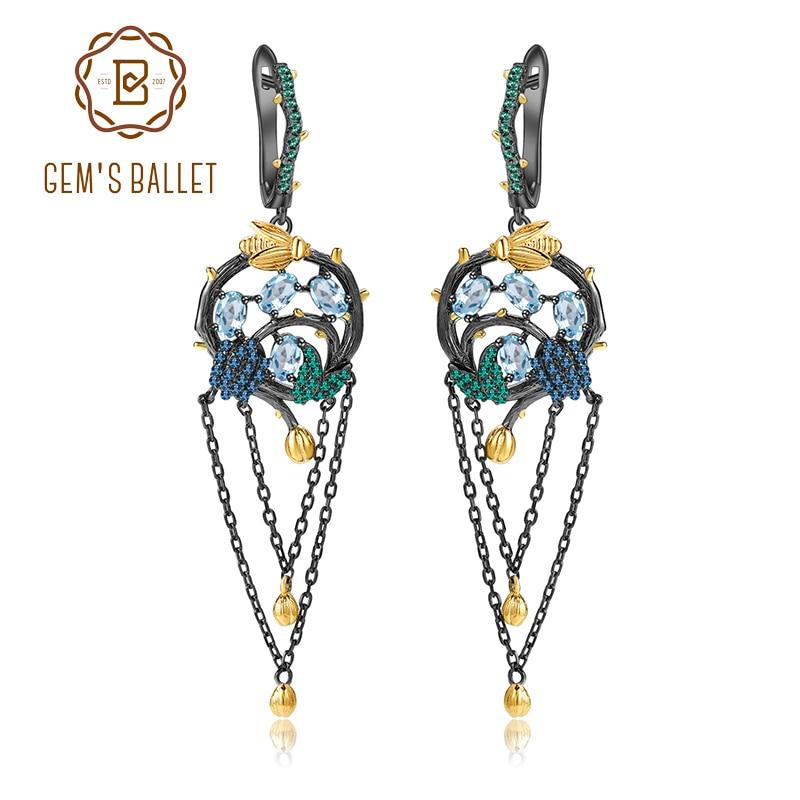 GEM S BALLET 925 Sterling Silver Handmade Gold Bee on Branch Drop Earrings Natural Swiss Blue