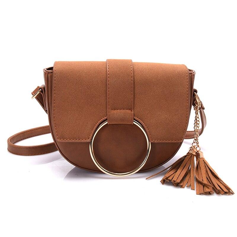 Vintage Nubuck Pu Leather Saddle Bag Purses Tassel Women