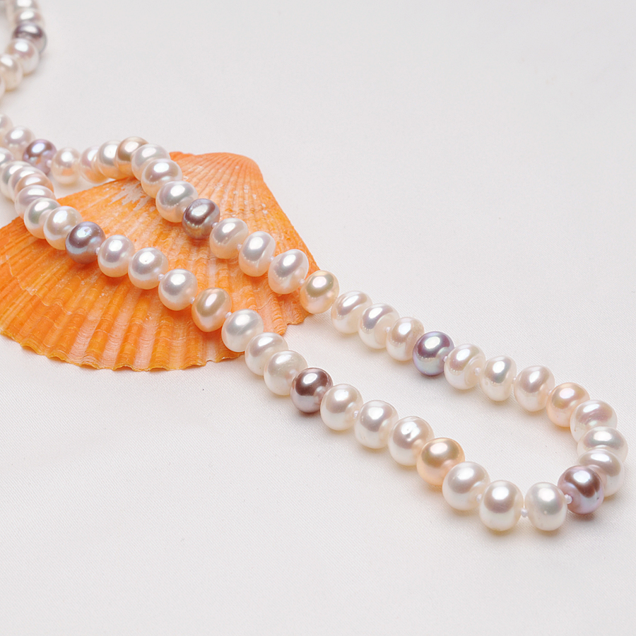 Natural Multicolor Freshwater Pearl Necklace for Women Engagement Jewelry 7 8MM Pearls Necklaces Jewelry Accessories Gifts FEIGE in Necklaces from Jewelry Accessories