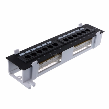 12 Port CAT6 Patch Panel RJ45 Networking Wall Mount Rack Mount Bracket Network hub MAY11 dropshipping