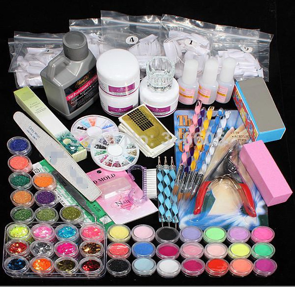 Hot Sale 42x Acrylic Nail Art Tips Powder Liquid Brush Glitter Clipper Primer File Set gel nail designs nail art supplies #NP139 42x acrylic nail art tips powder liquid brush glitter clipper primer file set