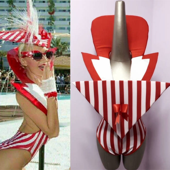 Red White Striped Low-breast Bodysuit Female Models Catwalk Party Show Sexy Costume Bar Nightclub Jazz Dance Team Stage Clothing