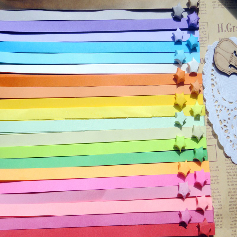 About 90Pcs Strips Handcraft Origami Lucky Star Paper Quilling Decoration 3